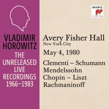 Cover Vladimir Horowitz in Recital at Avery Fischer Hall, New York City, May 4, 1980